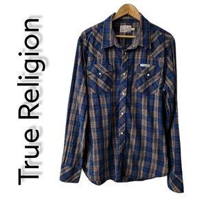 Pearl Snap Button Up Shirt Men's Size XXL